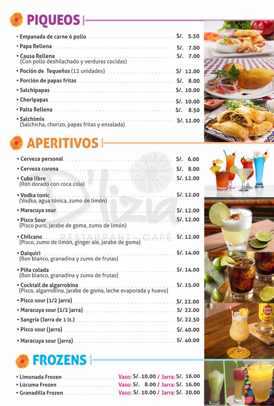Cafetería - Carta